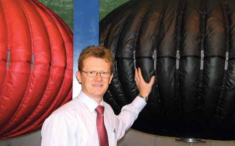 Undersea air bags store wind power