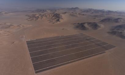 Vista aérea de la Planta Fotovoltaica en Chile